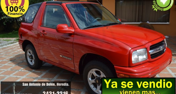 CHEVROLET TRACKER 1999, MANUAL 4X4, ROJO, TECHO DURO, FINANCIO HASTA 100%.